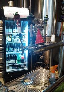 Moon Dog taps and fridge
